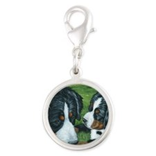 Berner mom and pup Silver Round Charm