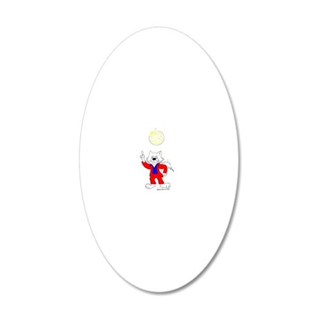 Disco Cat in Color 20x12 Oval Wall Decal