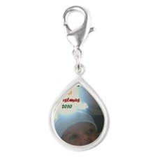 samirs first christmas Silver Teardrop Charm