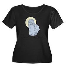 MOS Women's Plus Size Dark Scoop Neck T-Shirt