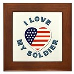 I Love My Soldier Framed Tile