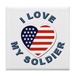 I Love My Soldier Tile Coaster