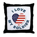 I Love My Soldier Throw Pillow