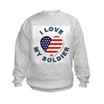 I Love My Soldier (Front) Kids Sweatshirt