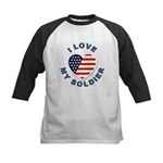 I Love My Soldier Kids Baseball Jersey