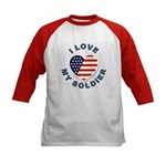 I Love My Soldier (Front) Kids Baseball Jersey