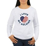 I Love My Soldier (Front) Women's Long Sleeve T-Sh