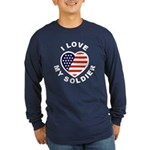 I Love My Soldier (Front) Long Sleeve Dark T-Shirt