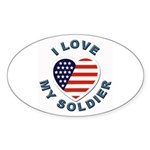 I Love My Soldier Oval Sticker