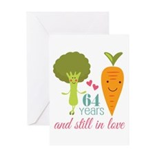 64 Year Anniversary Veggie Couple Greeting Card