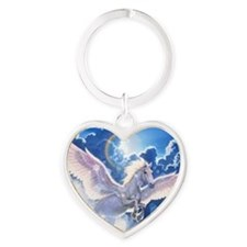 pegasus flying high Heart Keychain