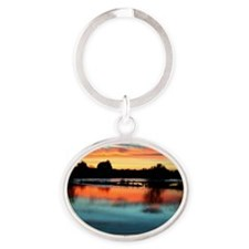 I Am Grateful print Oval Keychain