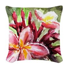 Pink Tropical Flowers Woven Throw Pillow