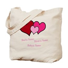 Personalize Three Hearts Tote Bag