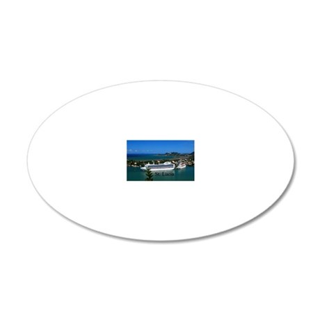 St. Lucia cruise ships20x16 20x12 Oval Wall Decal
