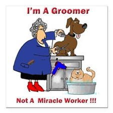 "dog groomer Square Car Magnet 3"" x 3"""