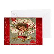 Victorian Valentine queen Of Hearts Greeting Card
