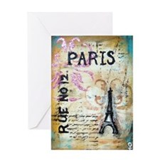 cafe9x12eiffel Greeting Card