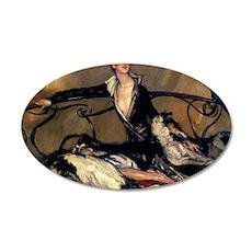 Jean Gabriel 1930 Oil 35x21 Oval Wall Decal