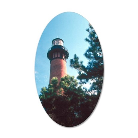 Currituck Lighthouse Duck, N 35x21 Oval Wall Decal