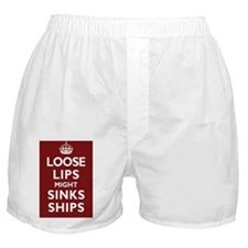 Loose Lips Sink Ships Poster - Dark R Boxer Shorts