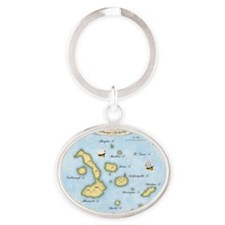Galapagos Map Oval Keychain
