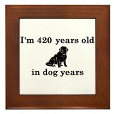 60 birthday dog years lab 2 Framed Tile