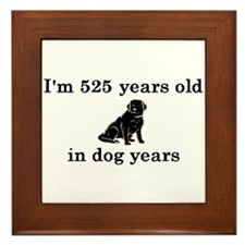 75 birthday dog years lab 2 Framed Tile