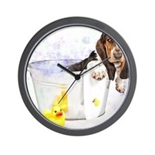 Bubble Bath Basset Print Wall Clock