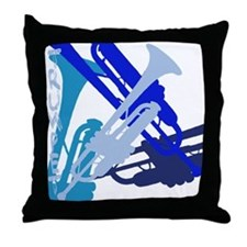 Trumpet vertical on black Throw Pillow