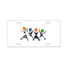 Dancing Stick Figures Aluminum License Plate