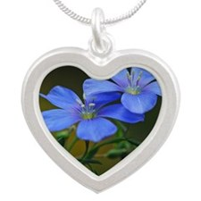 2-Blue Flowers #145 05-30-09 Silver Heart Necklace