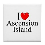 """I Love Ascension Island"" Tile Coaster"