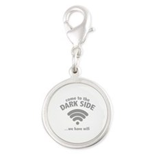 Come To The Dark Side Silver Round Charm