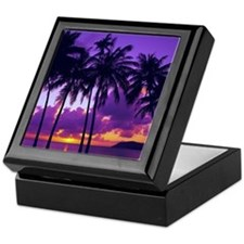 Purple Tropical Sunset 3 Keepsake Box