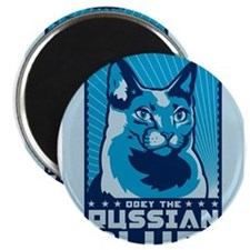 Obey the RUSSIAN BLUE! Cat Magnets