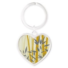 Bamboo  Butterflies (large framed p Heart Keychain