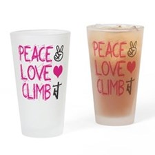 peace love climb pink Drinking Glass