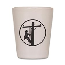 lineman profile on pole Shot Glass