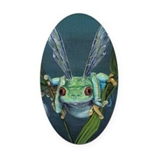 Wishing Frog Oval Car Magnet