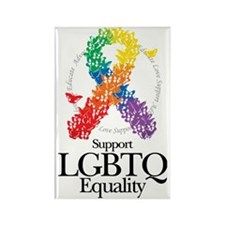 LGBTQ-Butterfly-Ribbon Rectangle Magnet