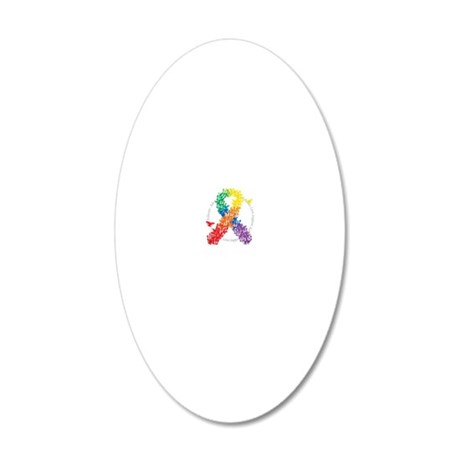 LGBT-Butterfly-Ribbon-blk 20x12 Oval Wall Decal