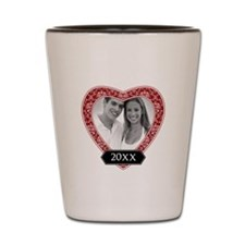 Heart Damask Border Shot Glass