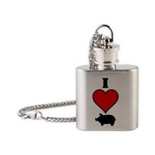 I heart pig Flask Necklace