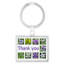 Violets Thank You Landscape Keychain