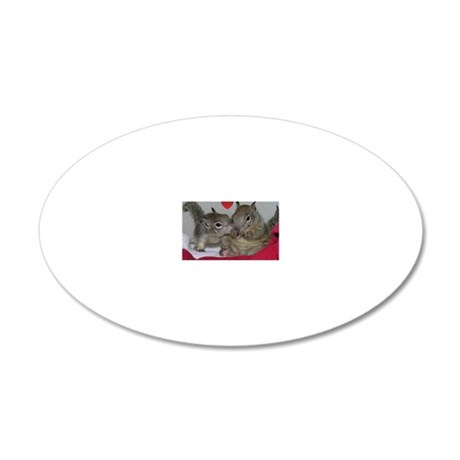 Valentine Squirrels 20x12 Oval Wall Decal