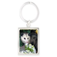 Possum Birthday Card - Flowers Portrait Keychain