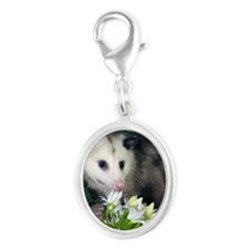 Possum Birthday Card - Flowers Silver Oval Charm