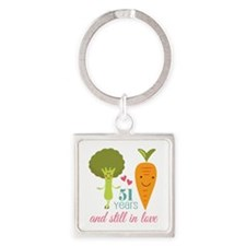51 Year Anniversary Veggie Couple Square Keychain
