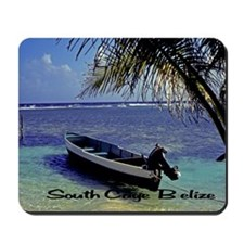 Small boat, Belize 200 south caye belize Mousepad
